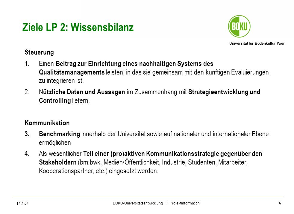 Ziele LP 2: Wissensbilanz