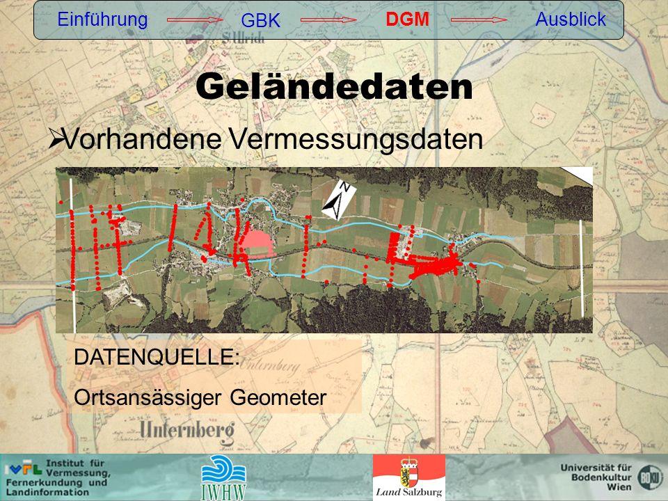 Geländedaten Vorhandene Vermessungsdaten DATENQUELLE: