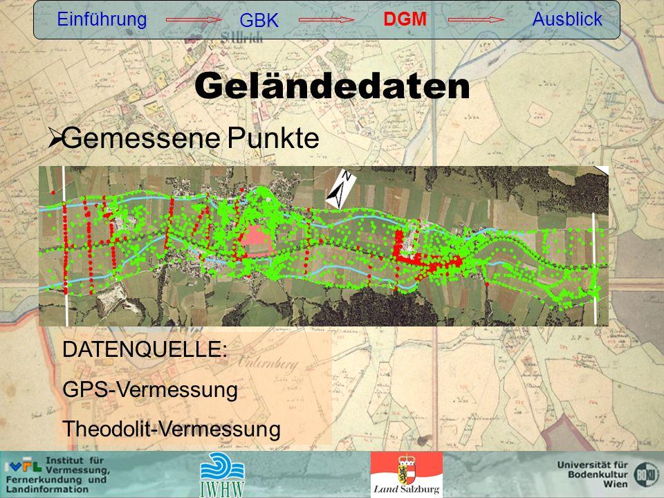 Geländedaten Gemessene Punkte DATENQUELLE: GPS-Vermessung
