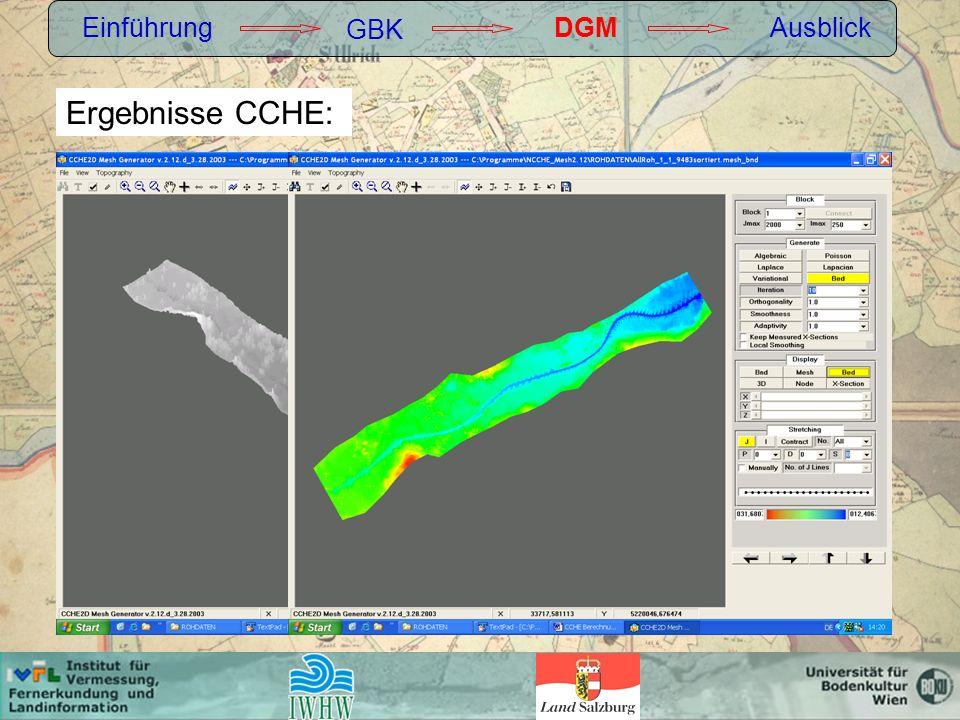Einführung GBK DGM Ausblick Ergebnisse CCHE: