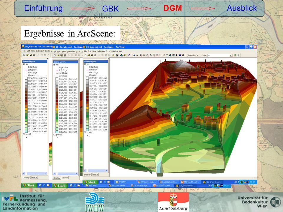 Ergebnisse in ArcScene: