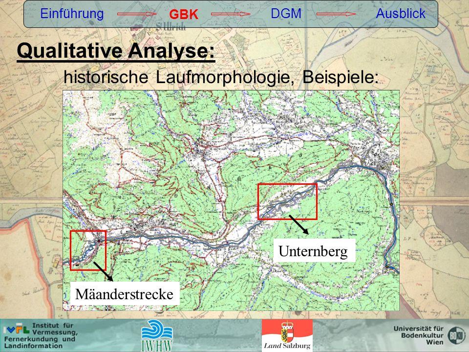 Qualitative Analyse: historische Laufmorphologie, Beispiele: