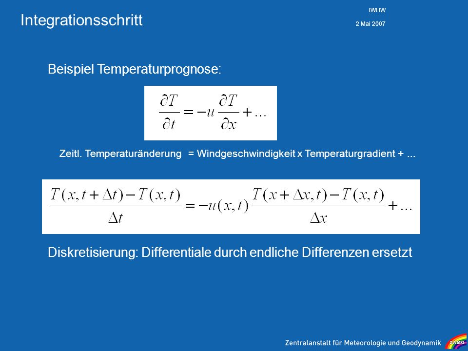 Integrationsschritt Beispiel Temperaturprognose: