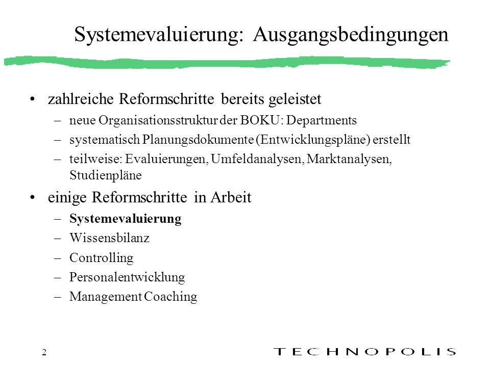 Systemevaluierung: Ausgangsbedingungen