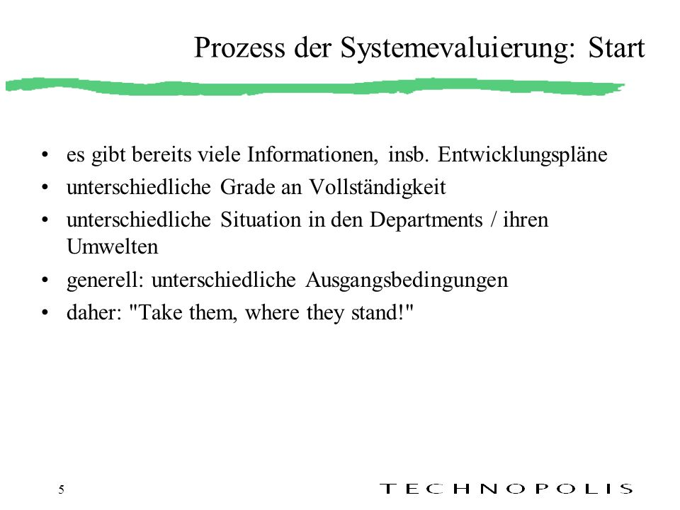 Prozess der Systemevaluierung: Start