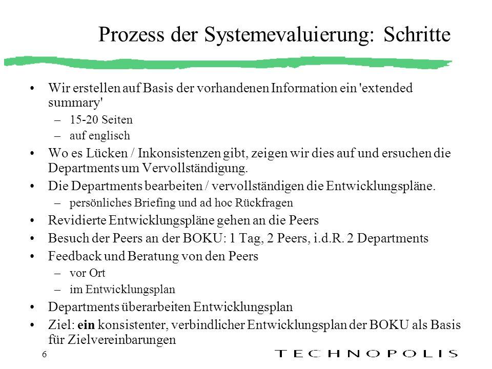 Prozess der Systemevaluierung: Schritte