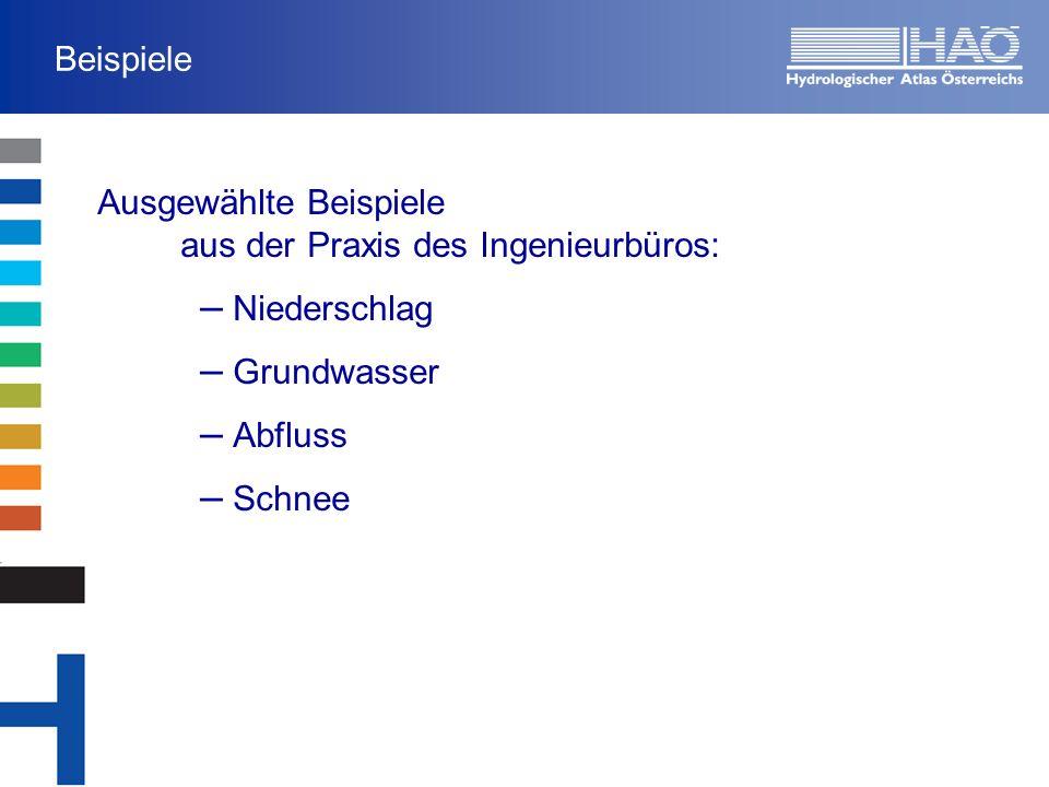 Beispiele Ausgewählte Beispiele aus der Praxis des Ingenieurbüros: Niederschlag. Grundwasser. Abfluss.