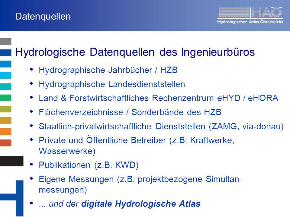 Hydrologische Datenquellen des Ingenieurbüros