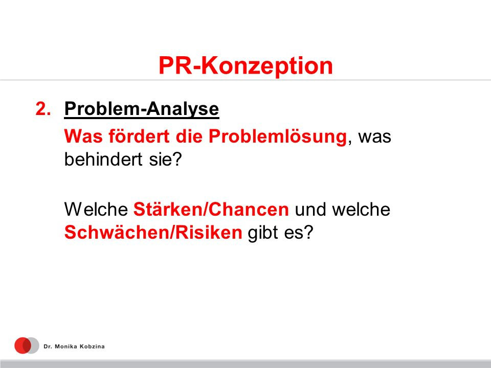 PR-Konzeption Problem-Analyse