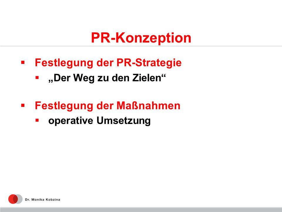 PR-Konzeption Festlegung der PR-Strategie Festlegung der Maßnahmen