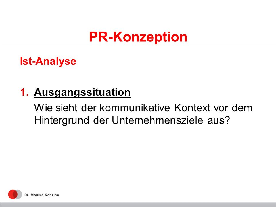 PR-Konzeption Ist-Analyse Ausgangssituation