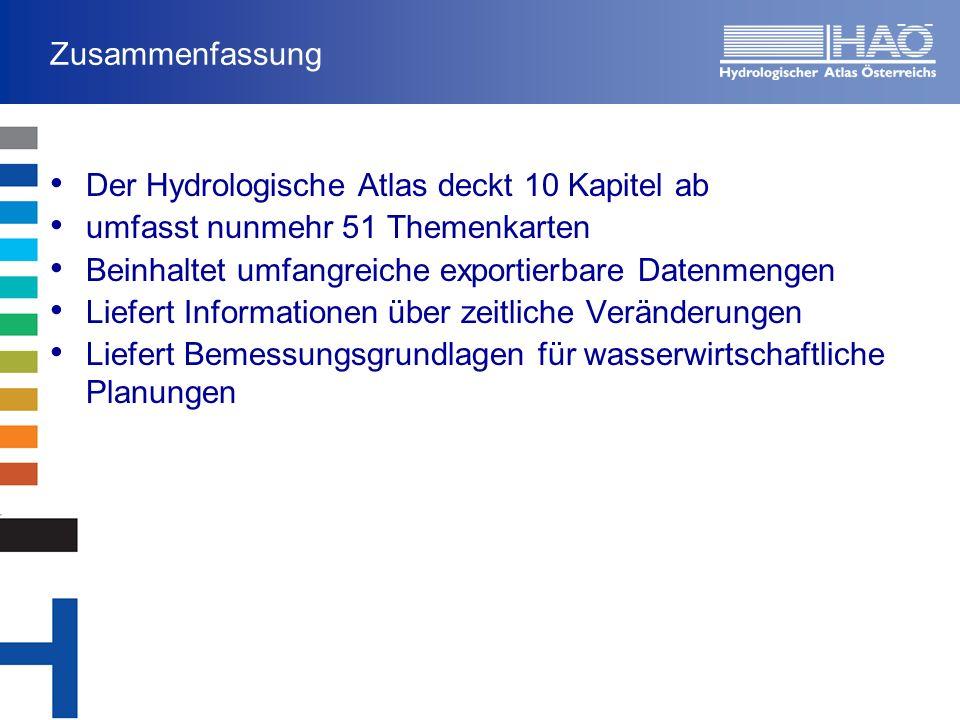 Zusammenfassung Der Hydrologische Atlas deckt 10 Kapitel ab. umfasst nunmehr 51 Themenkarten. Beinhaltet umfangreiche exportierbare Datenmengen.