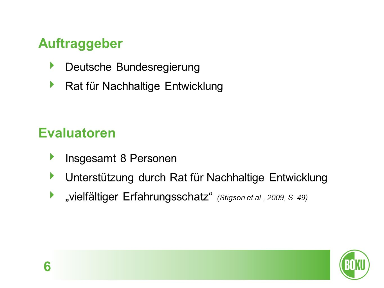 Auftraggeber Evaluatoren Deutsche Bundesregierung