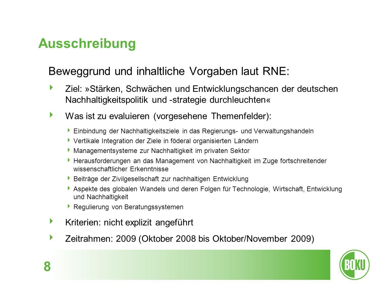 Ausschreibung 8 Beweggrund und inhaltliche Vorgaben laut RNE: