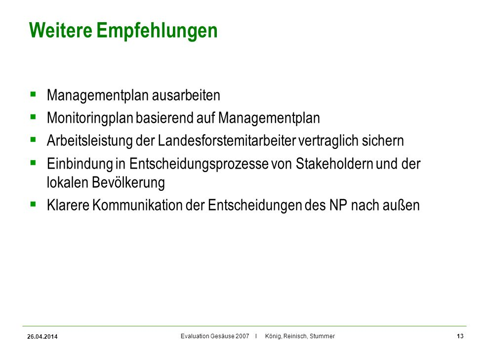 Weitere Empfehlungen Managementplan ausarbeiten