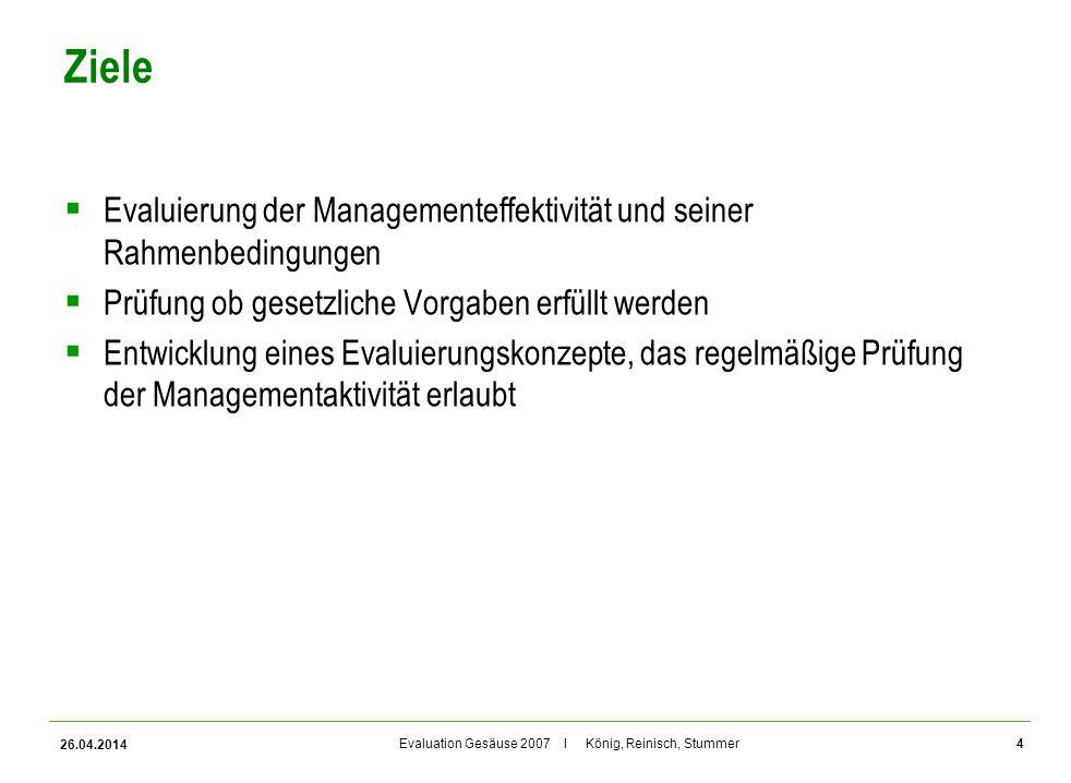 Ziele Evaluierung der Managementeffektivität und seiner Rahmenbedingungen. Prüfung ob gesetzliche Vorgaben erfüllt werden.