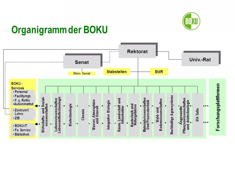 Organigramm der BOKU Rektorat Univ.-Rat Senat Forschungsplattformen