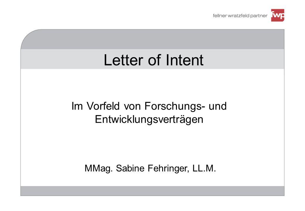 Letter of Intent Im Vorfeld von Forschungs- und Entwicklungsverträgen