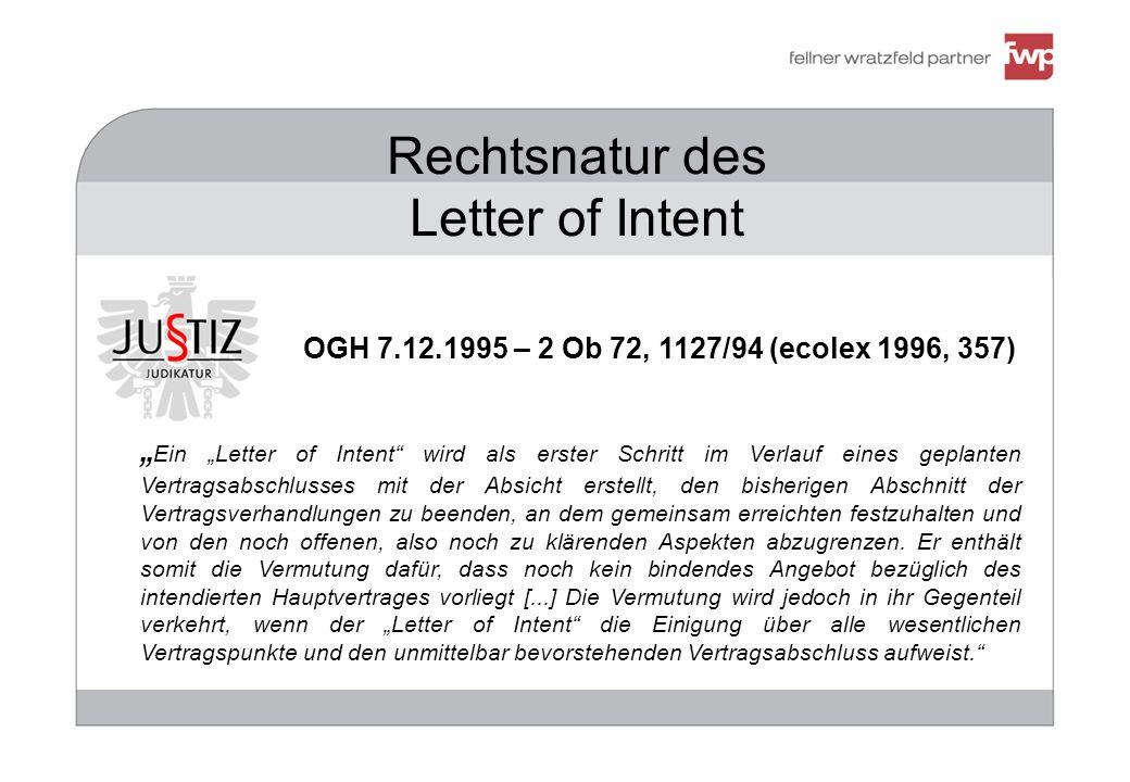 Rechtsnatur des Letter of Intent