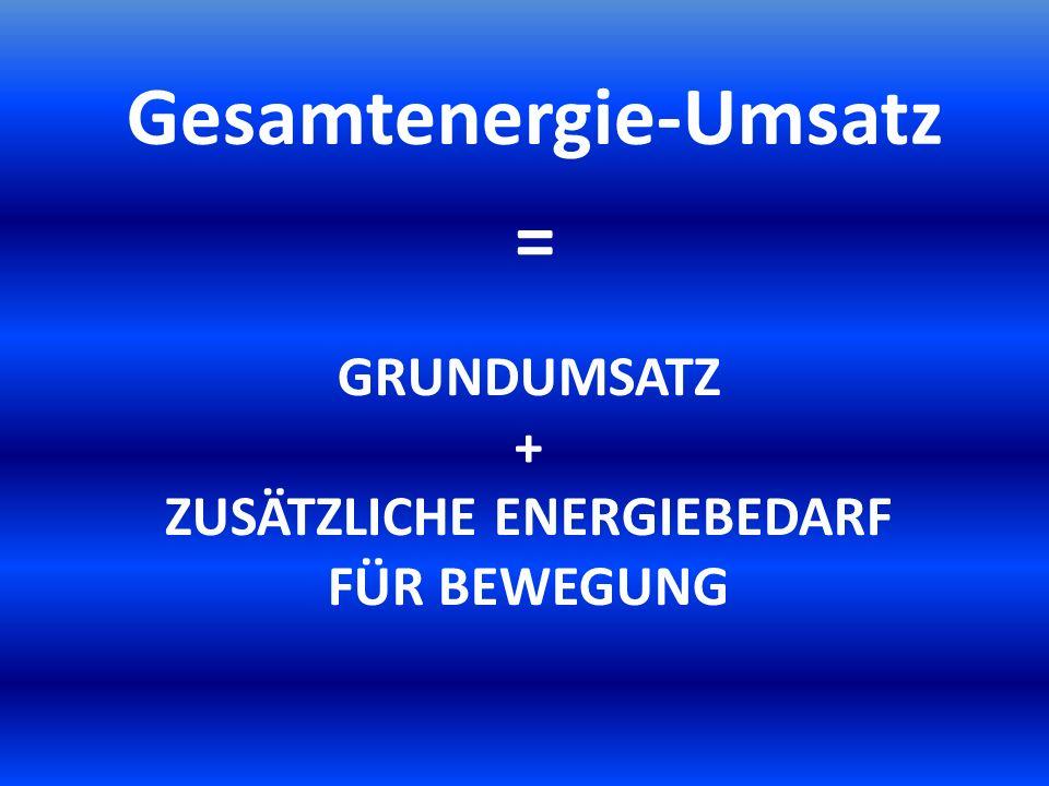 Grundumsatz + zusätzlichE Energiebedarf für Bewegung
