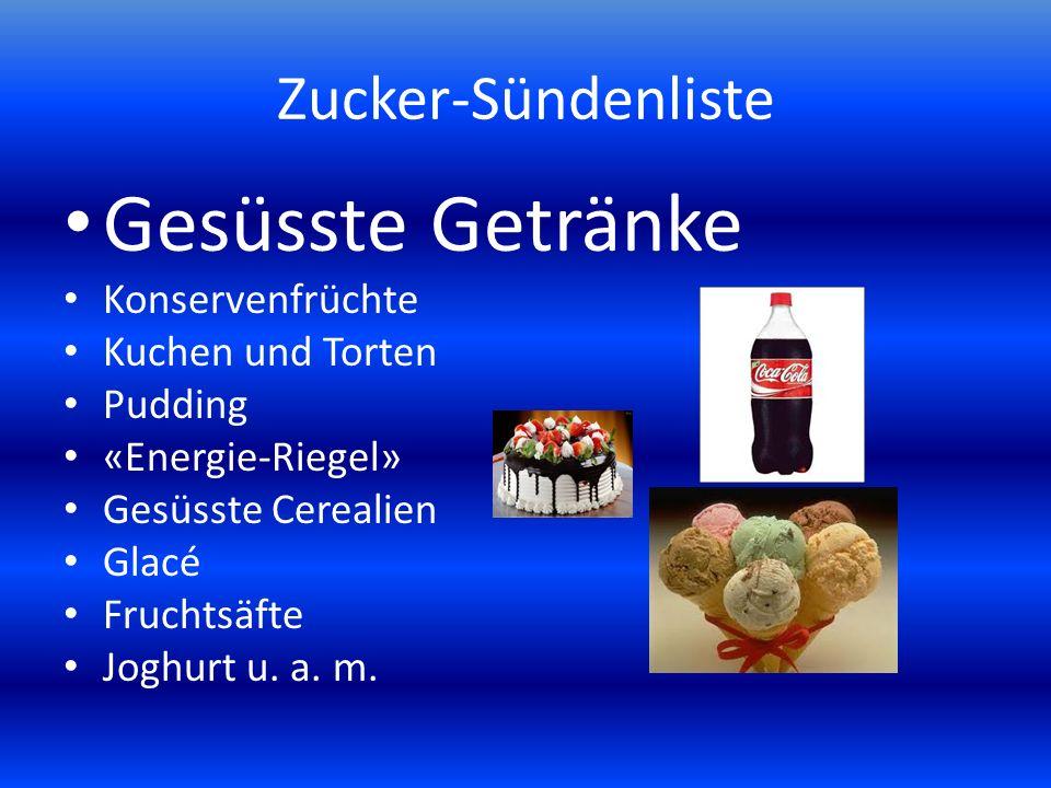 Gesüsste Getränke Zucker-Sündenliste Konservenfrüchte