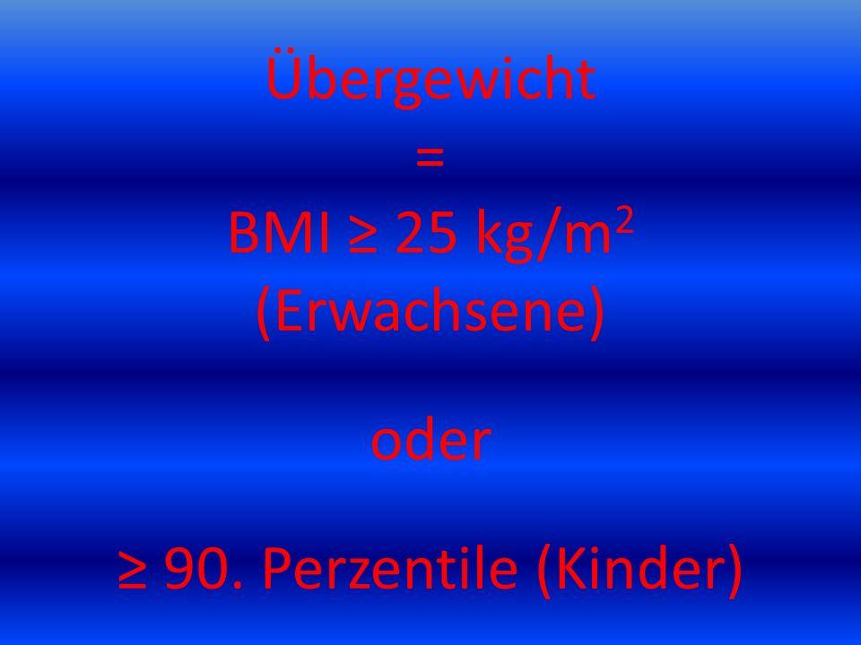 Übergewicht = BMI ≥ 25 kg/m2 (Erwachsene) oder ≥ 90
