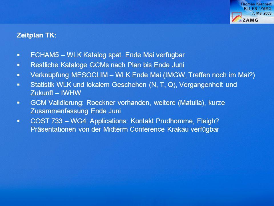 ECHAM5 – WLK Katalog spät. Ende Mai verfügbar