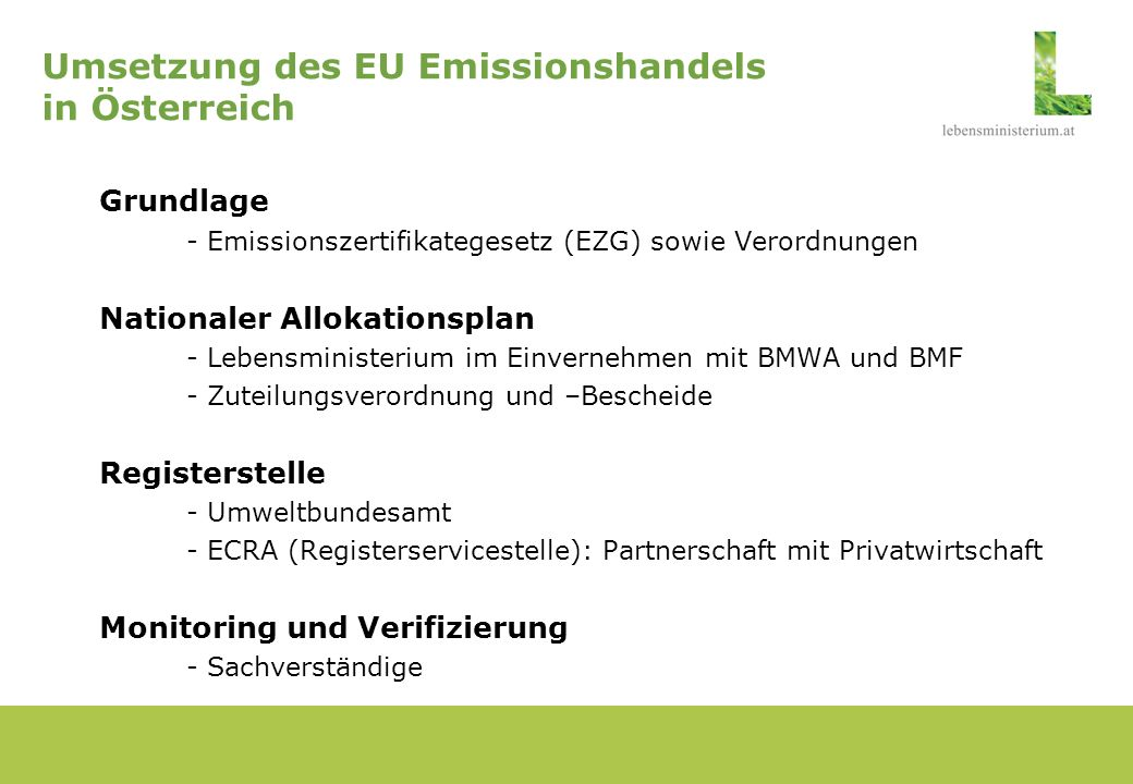 Umsetzung des EU Emissionshandels in Österreich