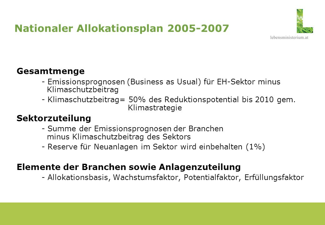 Nationaler Allokationsplan 2005-2007