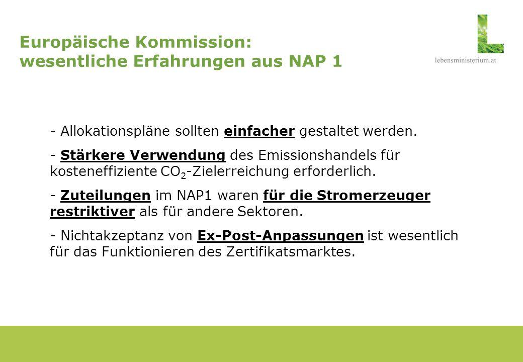 Europäische Kommission: wesentliche Erfahrungen aus NAP 1