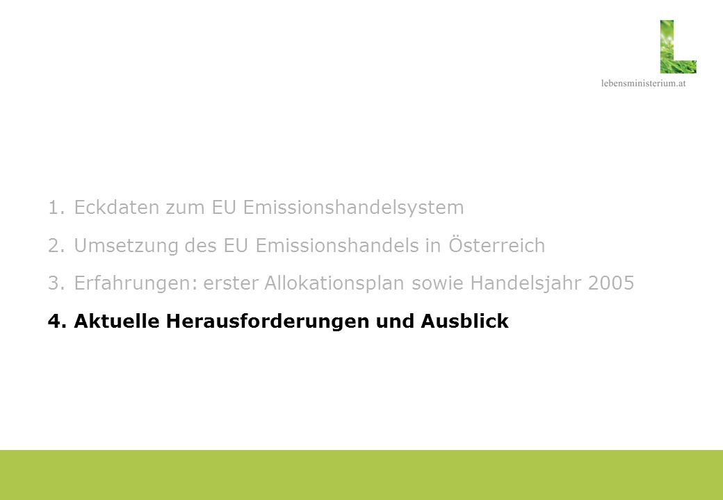Eckdaten zum EU Emissionshandelsystem