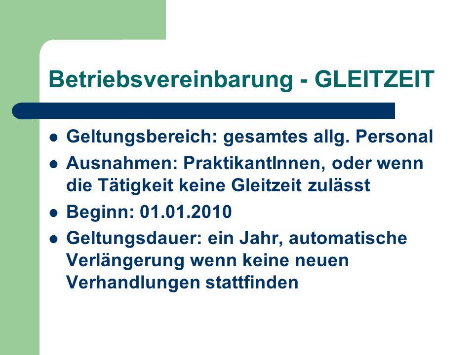 Betriebsvereinbarung - GLEITZEIT