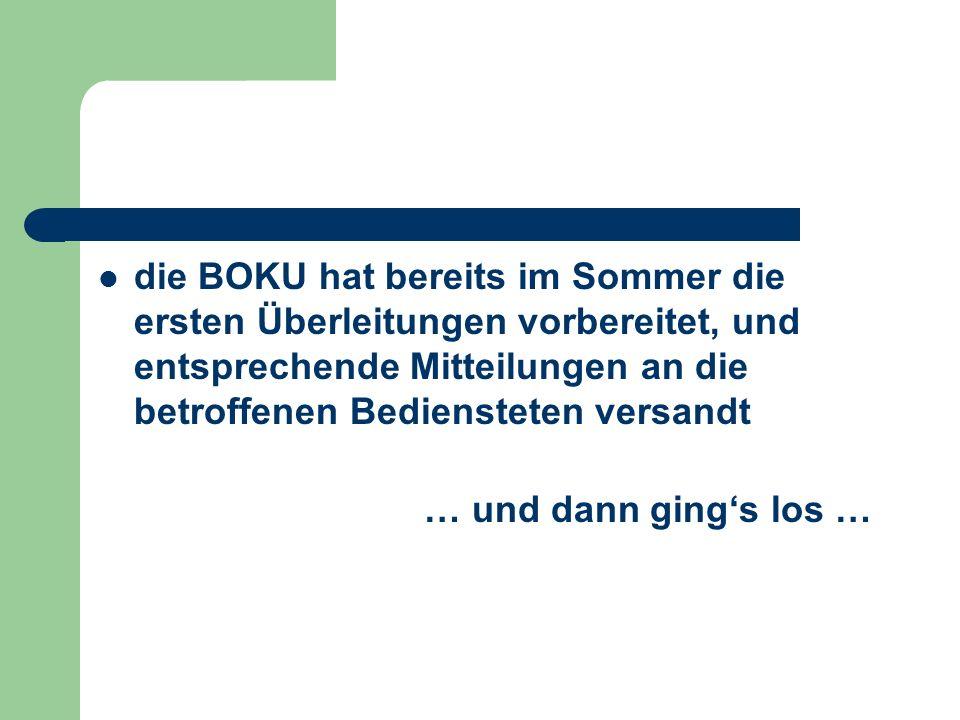 die BOKU hat bereits im Sommer die ersten Überleitungen vorbereitet, und entsprechende Mitteilungen an die betroffenen Bediensteten versandt