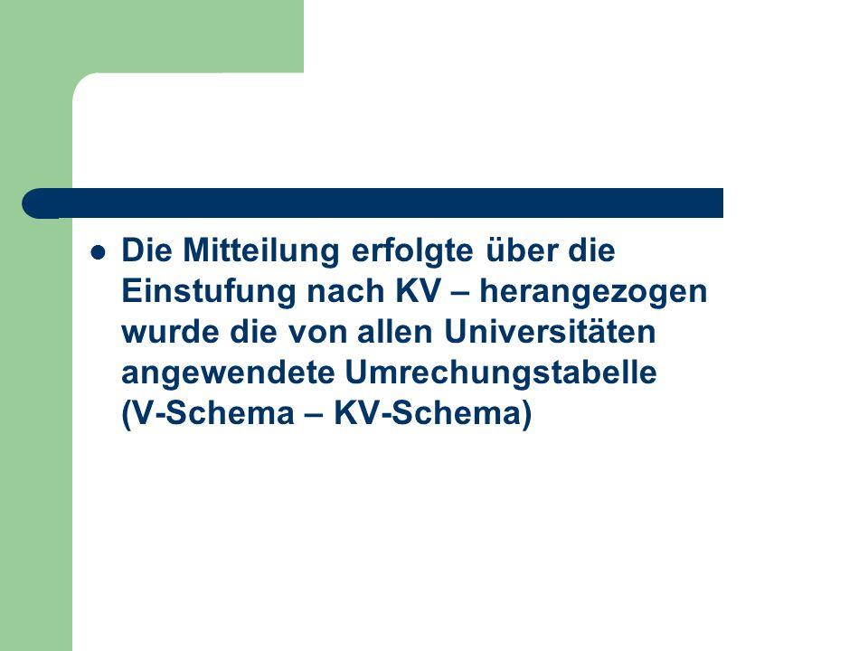 Die Mitteilung erfolgte über die Einstufung nach KV – herangezogen wurde die von allen Universitäten angewendete Umrechungstabelle (V-Schema – KV-Schema)