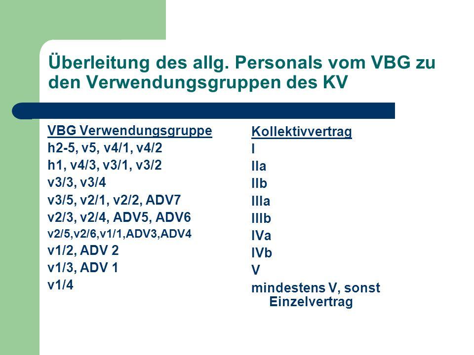 Überleitung des allg. Personals vom VBG zu den Verwendungsgruppen des KV