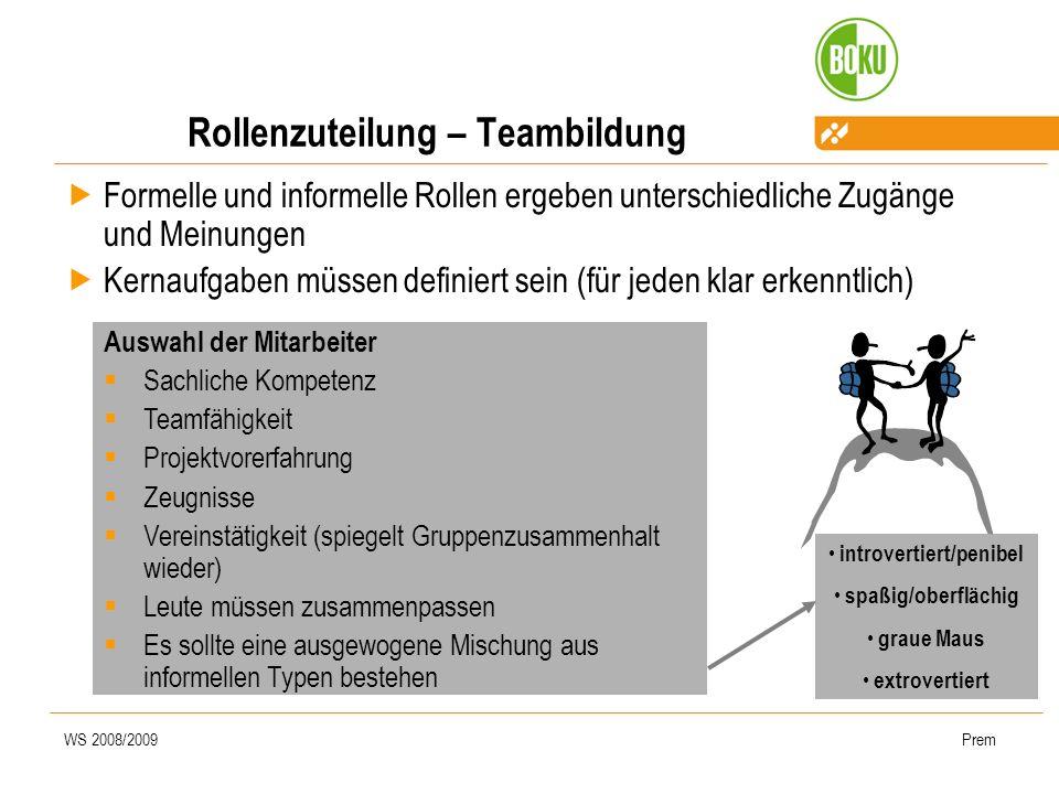 Rollenzuteilung – Teambildung