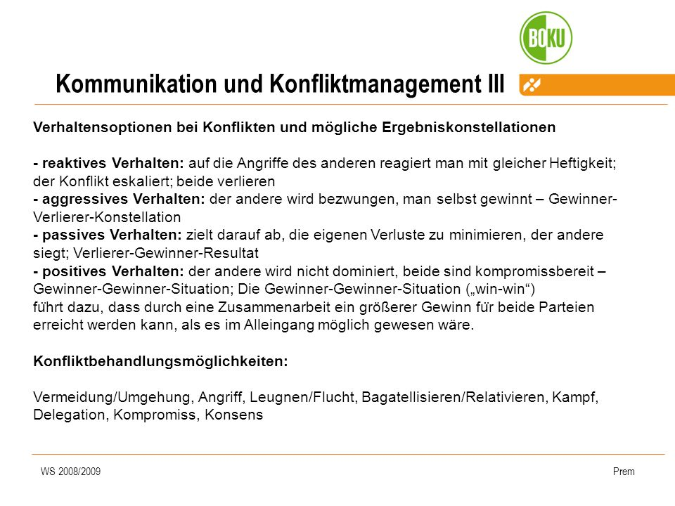 Kommunikation und Konfliktmanagement III
