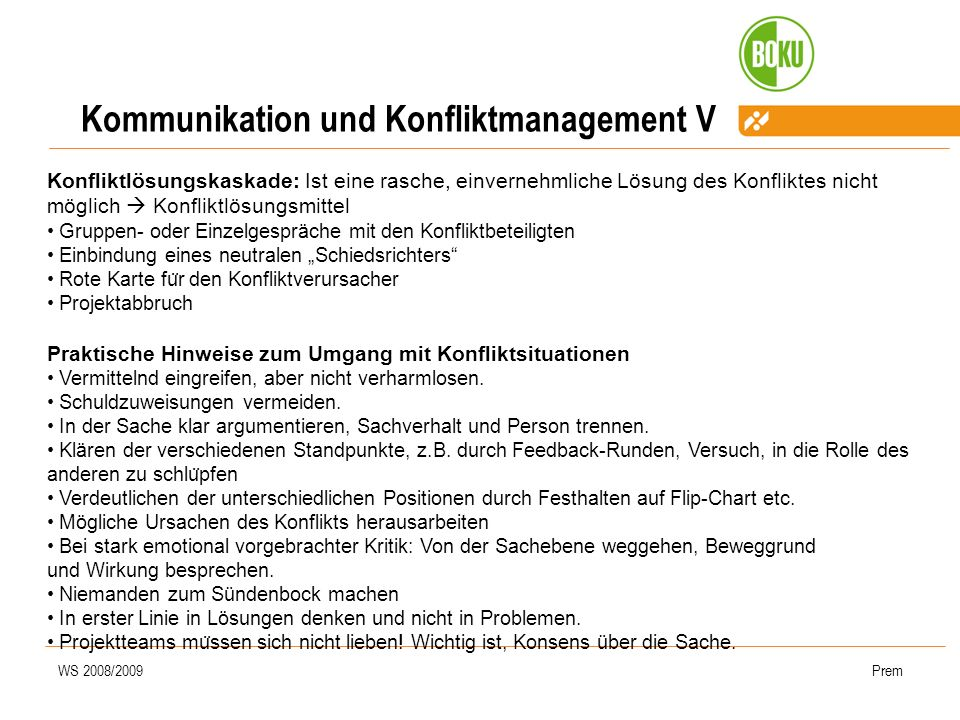 Kommunikation und Konfliktmanagement V