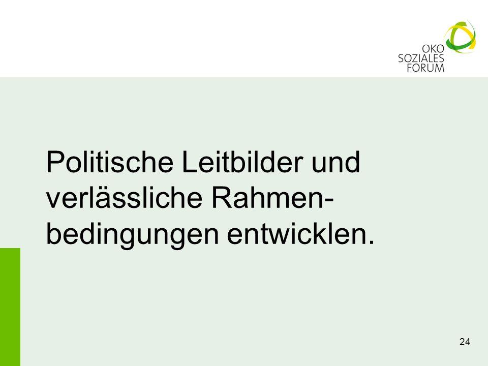 Politische Leitbilder und verlässliche Rahmen-bedingungen entwicklen.