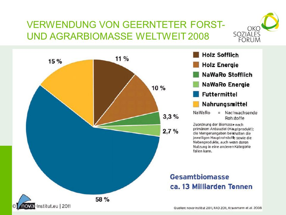 VERWENDUNG VON GEERNTETER FORST- UND AGRARBIOMASSE WELTWEIT 2008