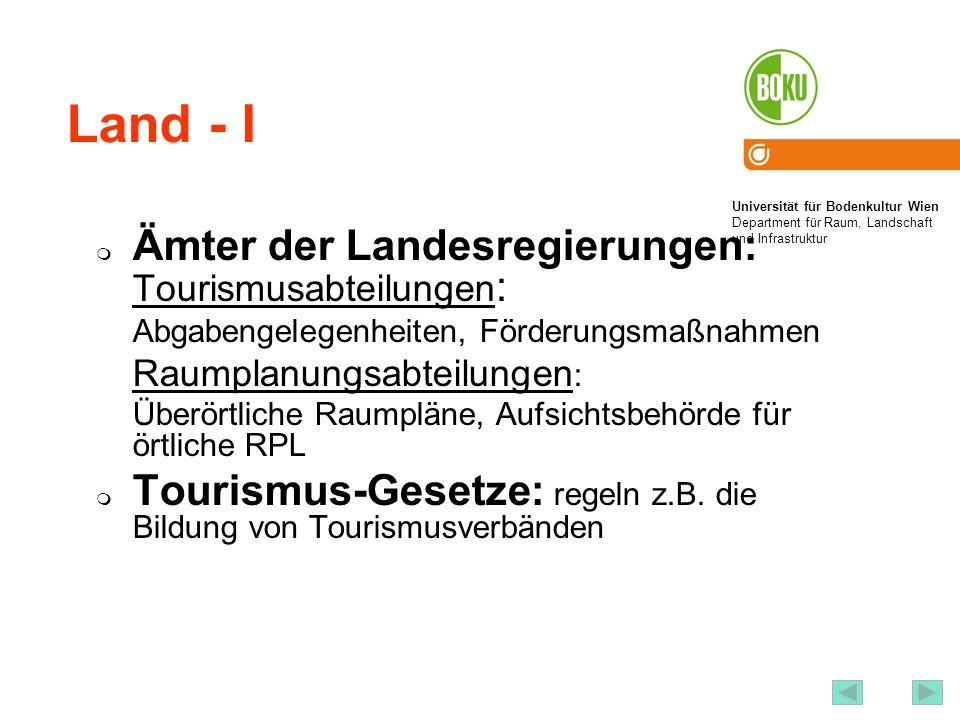 Land - I Ämter der Landesregierungen: Tourismusabteilungen:
