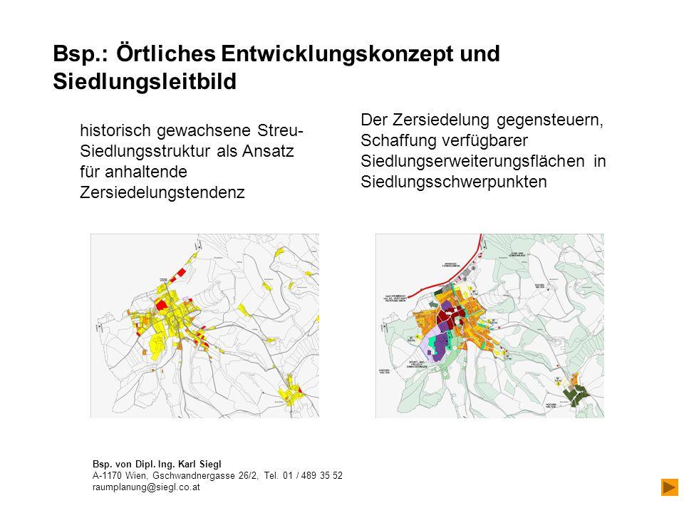 Bsp.: Örtliches Entwicklungskonzept und Siedlungsleitbild