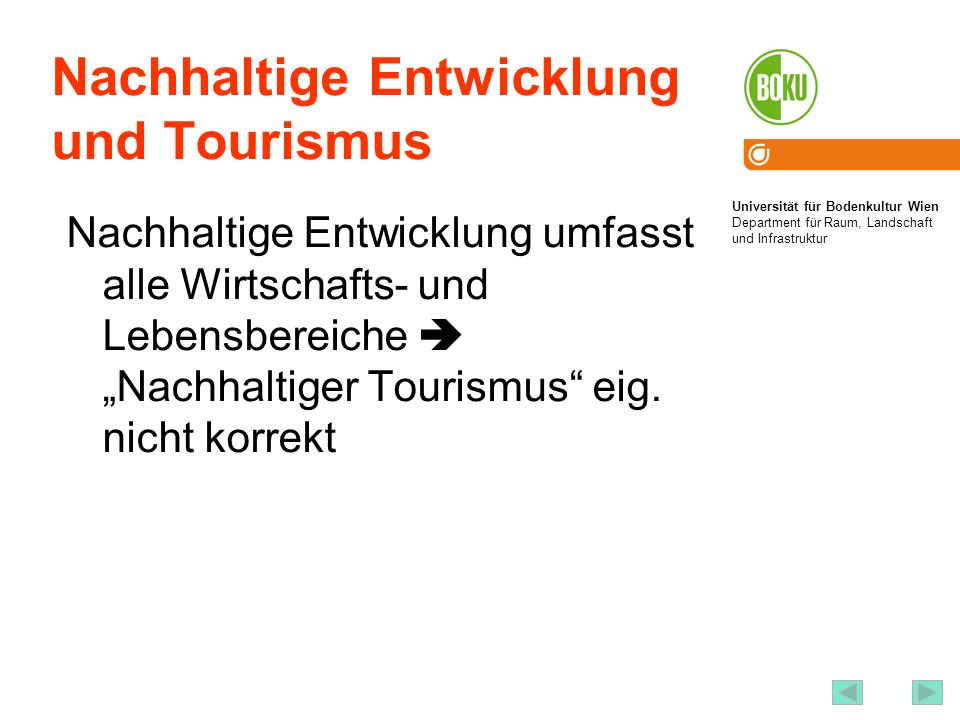 Nachhaltige Entwicklung und Tourismus