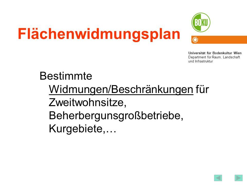 Flächenwidmungsplan Bestimmte Widmungen/Beschränkungen für Zweitwohnsitze, Beherbergunsgroßbetriebe, Kurgebiete,…