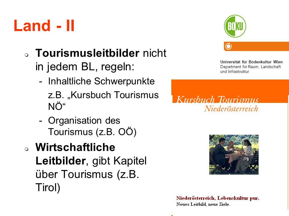 Land - II Tourismusleitbilder nicht in jedem BL, regeln: