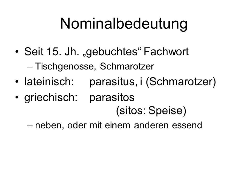 """Nominalbedeutung Seit 15. Jh. """"gebuchtes Fachwort"""