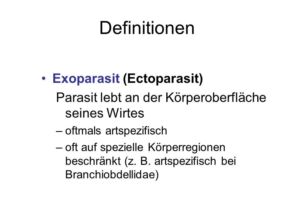 Definitionen Exoparasit (Ectoparasit)