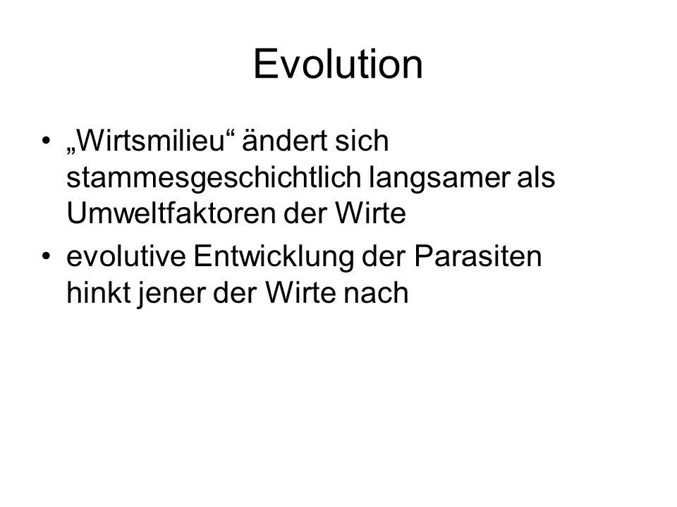 """Evolution""""Wirtsmilieu ändert sich stammesgeschichtlich langsamer als Umweltfaktoren der Wirte."""