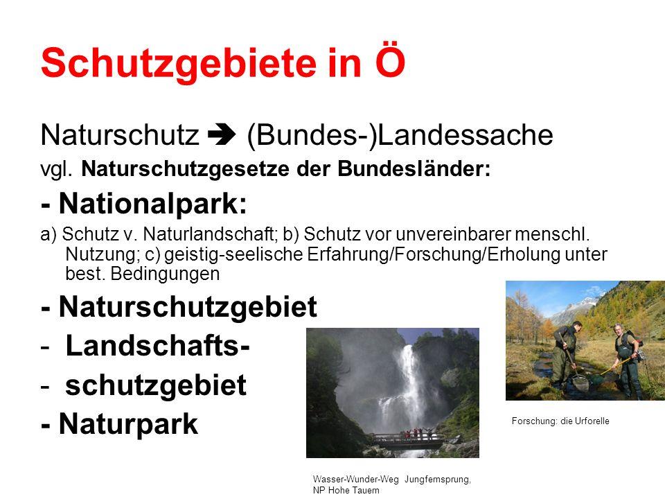 Schutzgebiete in Ö Naturschutz  (Bundes-)Landessache - Nationalpark: