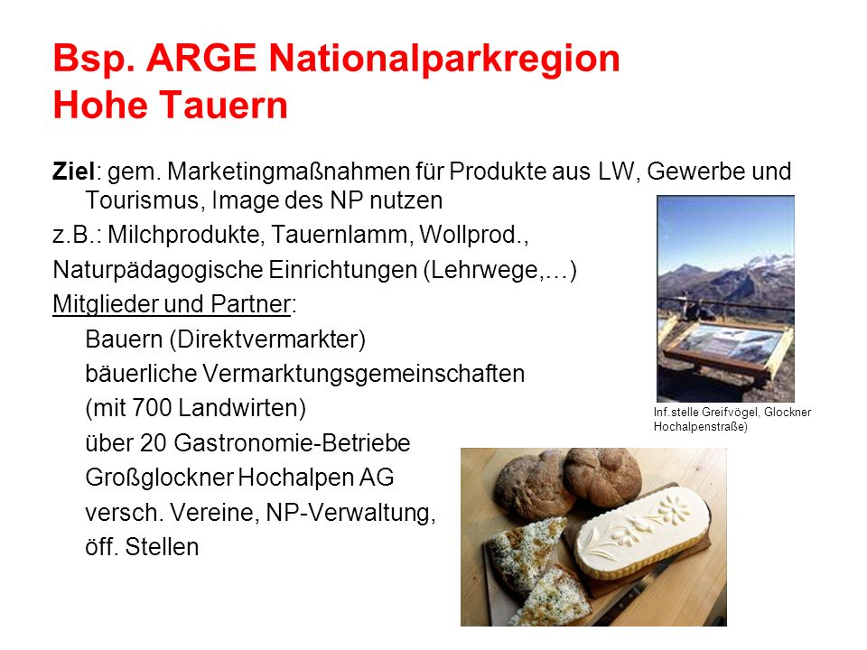 Bsp. ARGE Nationalparkregion Hohe Tauern